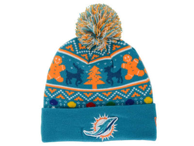 Miami Dolphins NFL Ugly Sweater Pom Knit Hats