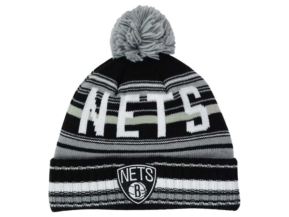 separation shoes 846f1 9870d low-cost Brooklyn Nets Mitchell and Ness NBA G-Super Stripe Pom Knit