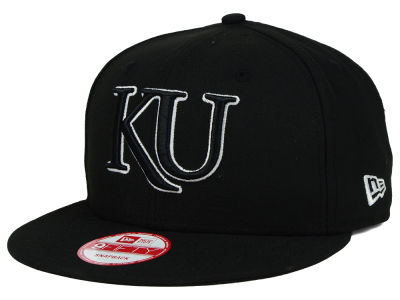 Kansas Jayhawks NCAA Black White Fashion 9FIFTY Snapback Cap Hats