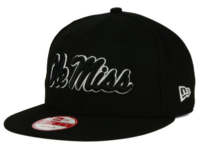Ole Miss Rebels NCAA Black White Fashion 9FIFTY Snapback Cap Hats