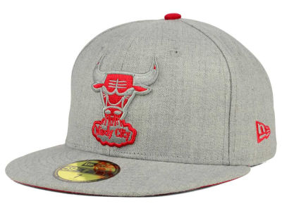 Chicago Bulls NBA HWC Heather League Basic 59FIFTY Cap Hats