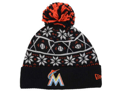 Miami Marlins MLB Sweater Chill Pom Knit Hats