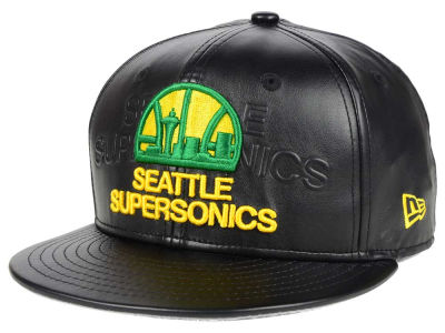 Seattle SuperSonics NBA HWC Leather Stamp 9FIFTY Snapback Cap Hats