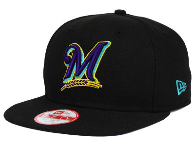 Milwaukee Brewers MLB Aqua Hook Basic 9FIFTY Snapback Cap Hats