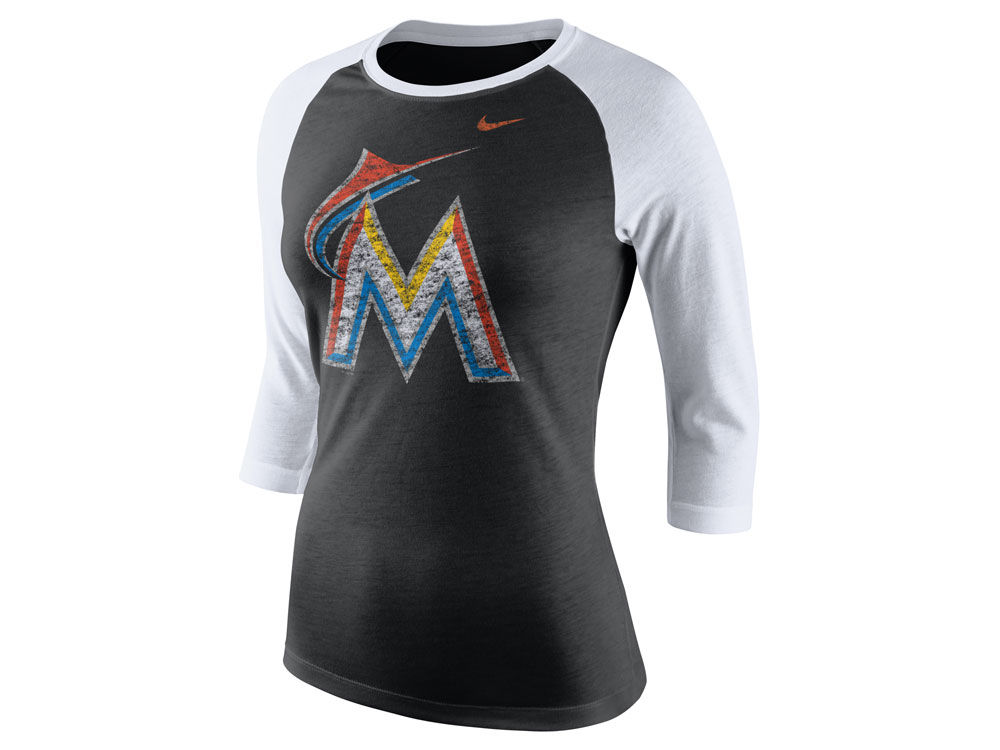 6c4562afb Miami Marlins Nike MLB Women s Tri Logo Raglan T-Shirt good ...