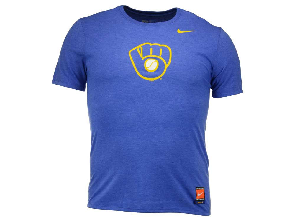 promo code 59b3e ea83a well-wreapped Milwaukee Brewers Glove Nike MLB Men s Coop Tri-Blend Logo T-
