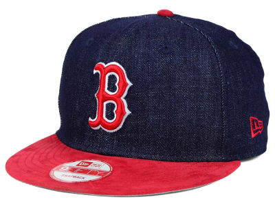 Boston Red Sox MLB 2 Tone Denim Suede 9FIFTY Snapback Cap Hats