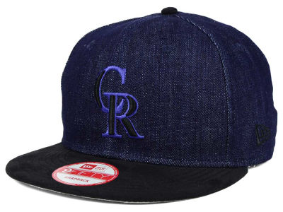 Colorado Rockies MLB 2 Tone Denim Suede 9FIFTY Snapback Cap Hats