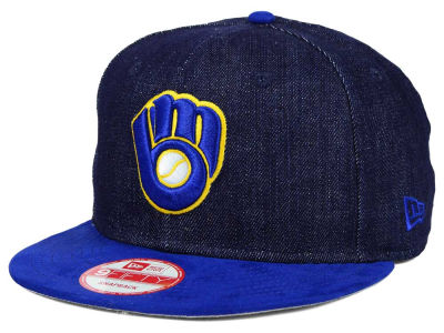 Milwaukee Brewers MLB 2 Tone Denim Suede 9FIFTY Snapback Cap Hats