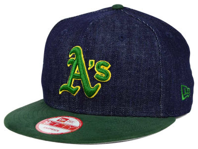 Oakland Athletics MLB 2 Tone Denim Suede 9FIFTY Snapback Cap Hats