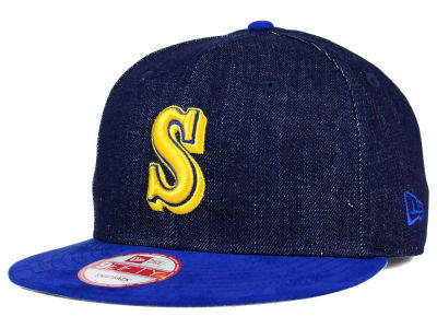 Seattle Mariners MLB 2 Tone Denim Suede 9FIFTY Snapback Cap Hats