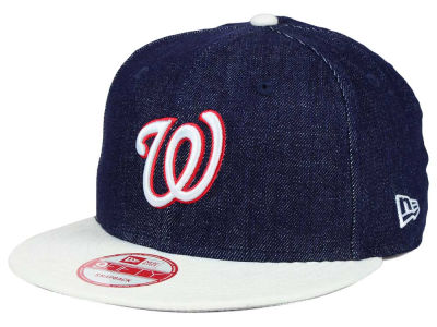 Washington Nationals MLB 2 Tone Denim Suede 9FIFTY Snapback Cap Hats