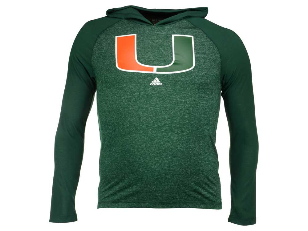 cheap Miami Hurricanes adidas NCAA Men s Ultimate Long Sleeve Hooded T-Shirt 9f2d435e6