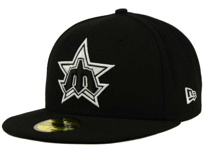 Seattle Mariners MLB Black and White Fashion 59FIFTY Cap Hats