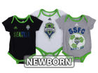 Seattle Sounders FC adidas MLS Newborn Hat Trick Creeper Set Infant Apparel
