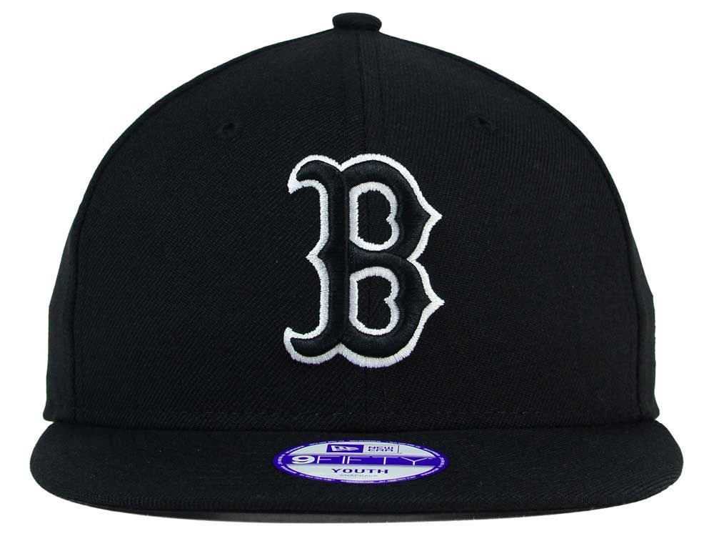 d9e23a93177eb well-wreapped Boston Red Sox New Era MLB Youth Black White 9FIFTY Snapback  Cap