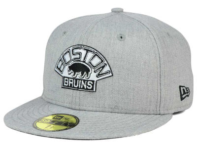 Boston Bruins NHL Heather Gray Black White 59FIFTY Cap Hats