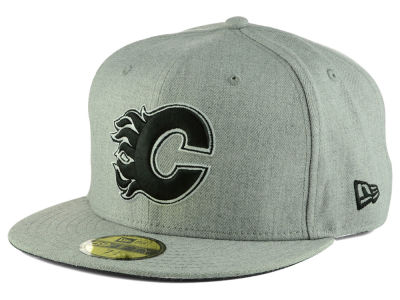 Calgary Flames NHL Heather Gray Black White 59FIFTY Cap Hats