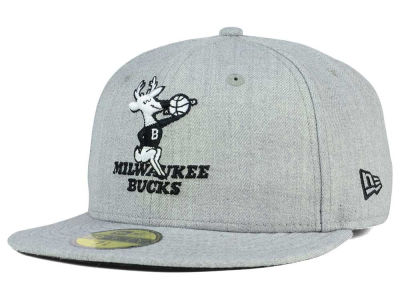 Milwaukee Bucks NBA HWC Heather Black White 59FIFTY Cap Hats