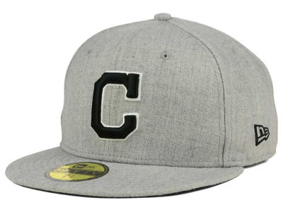 Cleveland Indians MLB Heather Black White 59FIFTY Cap Hats