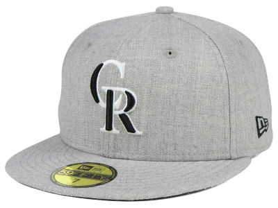 Colorado Rockies MLB Heather Black White 59FIFTY Cap Hats