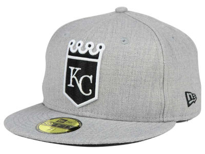 Kansas City Royals MLB Heather Black White 59FIFTY Cap Hats