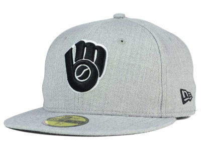 Milwaukee Brewers MLB Heather Black White 59FIFTY Cap Hats