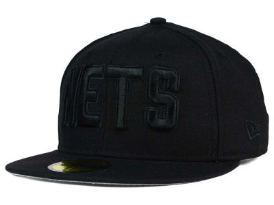 New Jersey Nets NBA HWC Black on Black 59FIFTY Cap Hats