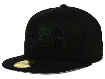 Philadelphia 76ers NBA HWC Black on Black 59FIFTY Cap Hats