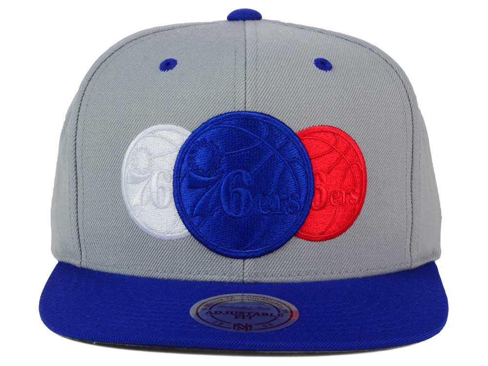5f7d3981cc311 Philadelphia 76ers Mitchell and Ness NBA Triple Color Stack Snapback Cap  85%OFF