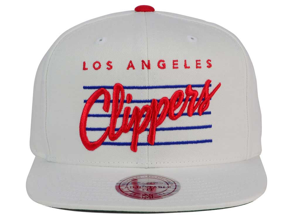quality design 325ff ab3af low-cost Los Angeles Clippers Mitchell and Ness NBA Cursive Script Cotton  Snapback Cap