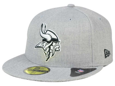 Minnesota Vikings NFL Heather Black White 59FIFTY Cap Hats