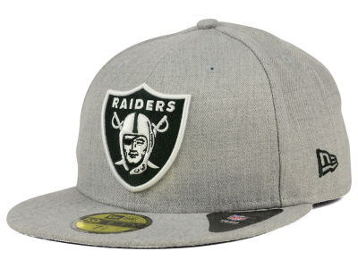 Oakland Raiders NFL Heather Black White 59FIFTY Cap Hats