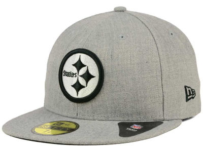 Pittsburgh Steelers NFL Heather Black White 59FIFTY Cap Hats