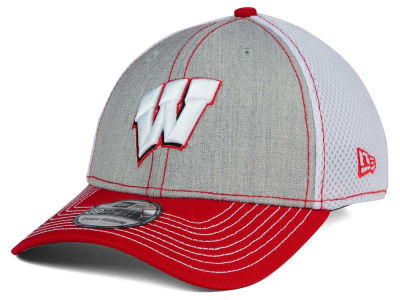 Wisconsin Badgers NCAA Heathered Neo 39THIRTY Cap Hats