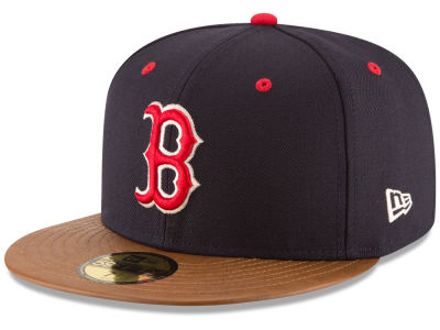 Boston Red Sox MLB Leather Banner Patch 59FIFTY Cap Hats
