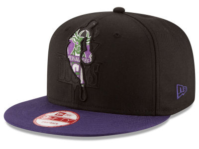 Milwaukee Bucks NBA HWC Logoman Blackout 9FIFTY Snapback Cap Hats
