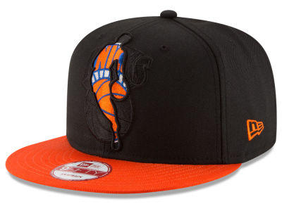 New York Knicks NBA HWC Logoman Blackout 9FIFTY Snapback Cap Hats