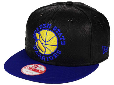 Golden State Warriors NBA HWC Leather Tri-Boss 9FIFTY Snapback Cap Hats