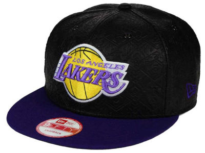 Los Angeles Lakers NBA HWC Leather Tri-Boss 9FIFTY Snapback Cap Hats