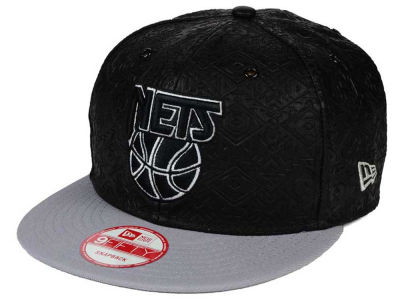 New Jersey Nets NBA HWC Leather Tri-Boss 9FIFTY Snapback Cap Hats
