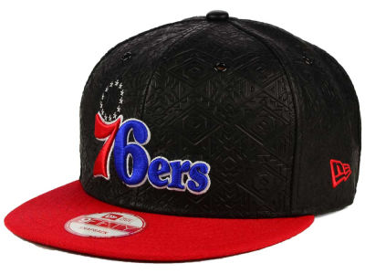 Philadelphia 76ers NBA HWC Leather Tri-Boss 9FIFTY Snapback Cap Hats