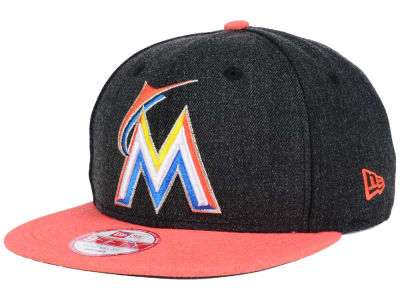 Miami Marlins MLB Heather 2 Tone 9FIFTY Snapback Cap Hats