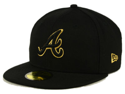 Atlanta Braves MLB Black On Metallic Gold 59FIFTY Cap Hats