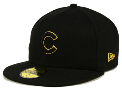 Chicago Cubs MLB Black On Metallic Gold 59FIFTY Cap Hats
