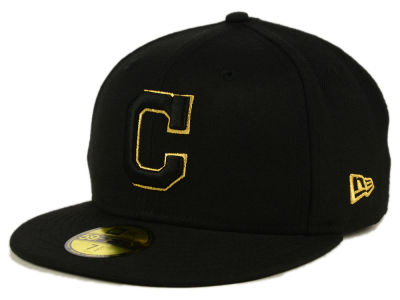 Cleveland Indians MLB Black On Metallic Gold 59FIFTY Cap Hats