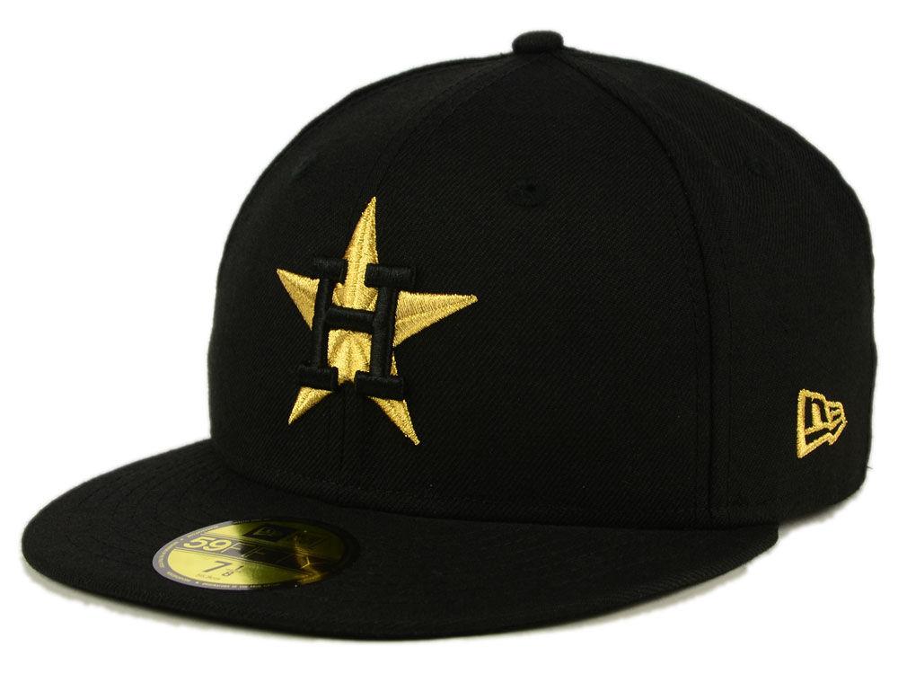 d022c407ddddc Houston Astros New Era MLB Black On Metallic Gold 59FIFTY Cap hot sale