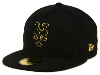 New York Mets MLB Black On Metallic Gold 59FIFTY Cap Hats