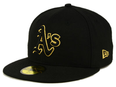 Oakland Athletics MLB Black On Metallic Gold 59FIFTY Cap Hats