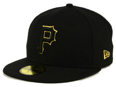 Pittsburgh Pirates MLB Black On Metallic Gold 59FIFTY Cap Hats